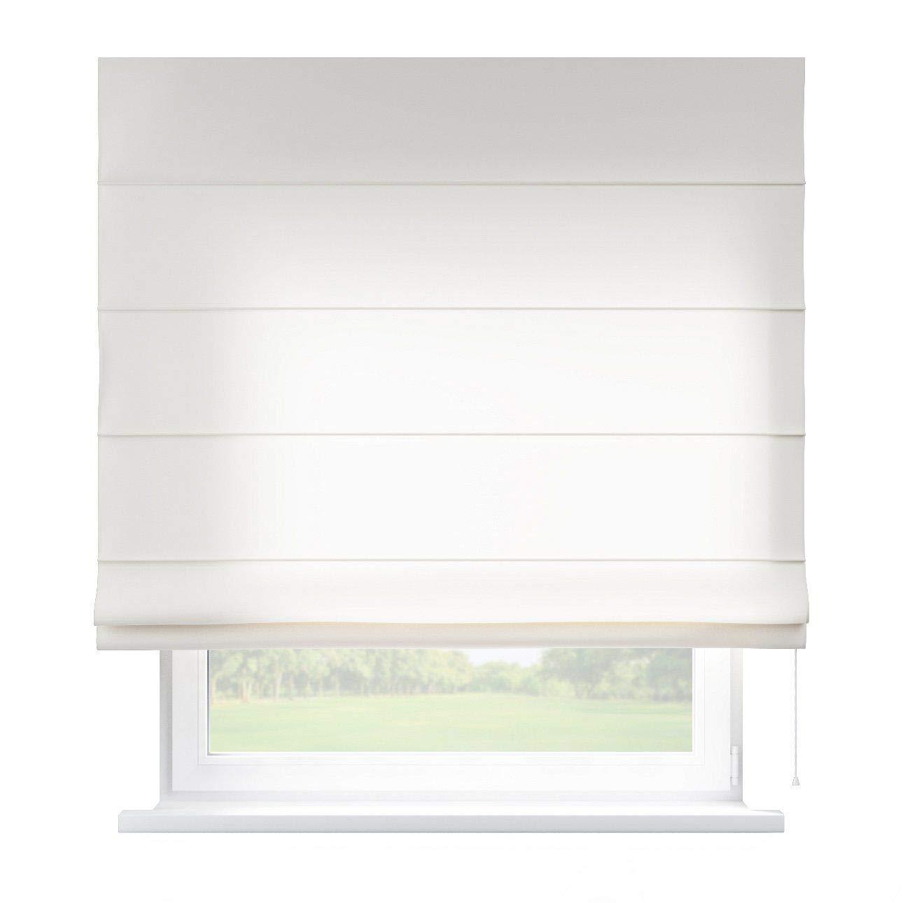 Dekoria Raffrollo Capri ohne Bohren Blickdicht Faltvorhang Raffgardine Wohnzimmer Schlafzimmer Kinderzimmer 100 × 170 cm weiß/Ecru Raffrollos auf Maß maßanfertigung möglich