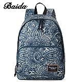 Teens Backpack – Baida Printing School Bag,Casual Daypack,Lightweight Waterproof,Bookbag College Back Pack,Leisure Korean,Ladies Knapsack,14″ Laptop Travel Bags for Men and Women's Backpack-Blue