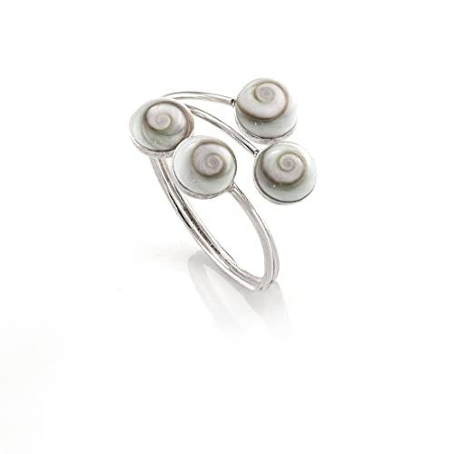 Silverly Womens .925 Sterling Silver White Shiva Eye Shell Adjustable Ring