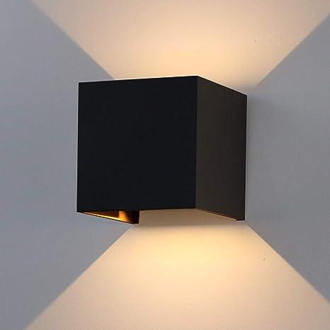 K-Bright 12W Wandleuchte Warmweiß Led Innen Außen Badezimmer  Wandstrahler/Wandlampe/Wandbeleuchtung für Schlafzimmer,  Wohnzimmer,IP65,Schwarz