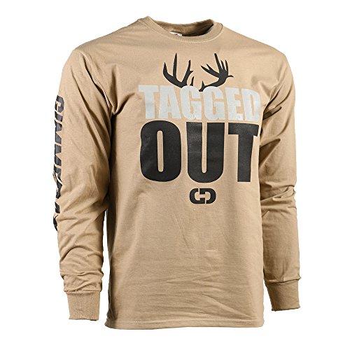 (GIMMEDAT The Original Tagged Out Long Sleeve Deer Hunting Shirt Gift (Medium) Beige)