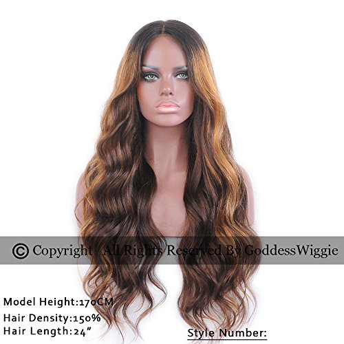 Goddess Wiggie Human Hair Lace Front Wigs 130% Density Brazilian Virgin Hair Long Wavy Beautiful Ombre Highlight Color Lace Front Human Hair Wigs For Black and White Women With Baby Hair(22inch) by Goddess Wiggi