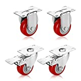 PARLOS Heavy Duty 3'' Plate Casters, Pack of 4 (2 Swivel with Brake & 2 Rigid without Brake) on PU Polyurethane Wheels Red, 40005