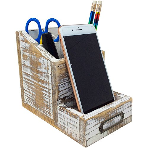Rusoji Country Rustic Torched Wood Cell Phone Stand and 4 Slots Pen Pencil Holder Office Supply Storage Organizer with Label Holder, Brown by Rusoji