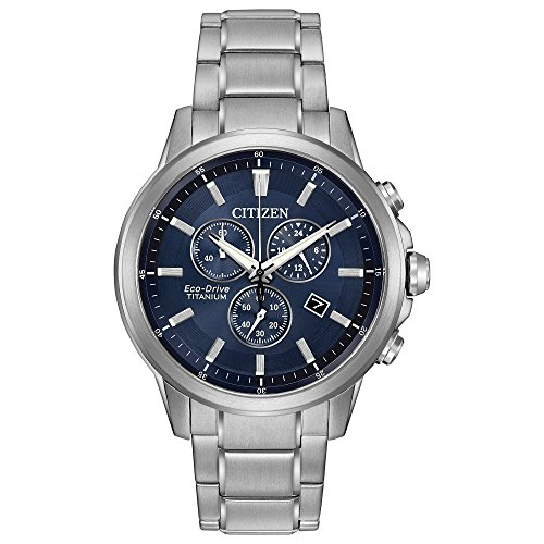 - Citizen Eco-Drive Men's 'Titanium' Quartz Casual Watch, Color: Silver-Toned (Model: AT2340-56L)