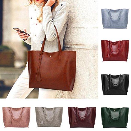 BZLine® Frauen Casual Taschen Frauen Leder Quaste Handtasche Schultertasche Blau gDjFTCNyny