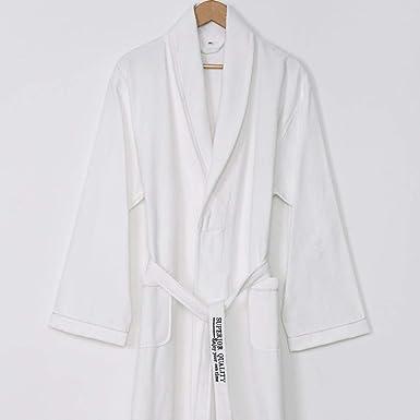 Bata de Damas Albornoz para Mujer Camisas de Noche Camisón de algodón para Hombre y Mujer-Blanco_M: Amazon.es: Ropa y accesorios