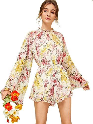 Romwe Women's Floral Printed Ruffle Bell Sleeve Loose Fit Jumpsuit Rompers Multicolor#3 Medium (Long Sleeve Romper)