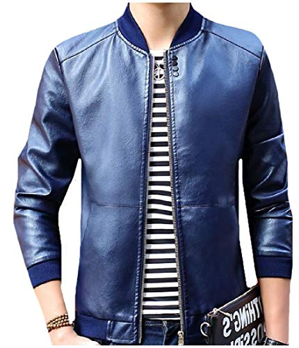 Safari Travel Jacket College Howme Full Leather Men Fashion Blue Dark Zip Pu qwY06z