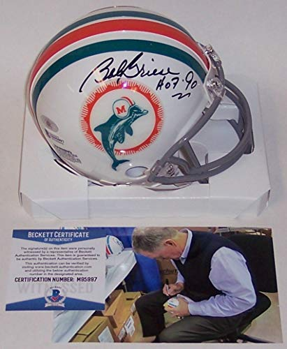 - Bob Griese Autographed Hand Signed 1972 Miami Dolphins Throwback Mini Football Helmet - HOF 90 Inscription - BAS Beckett Authentication