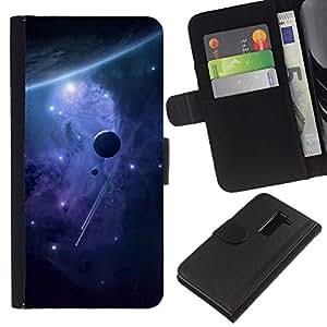 YiPhone /// Tirón de la caja Cartera de cuero con ranuras para tarjetas - Espacio Planetas - LG G2 D800