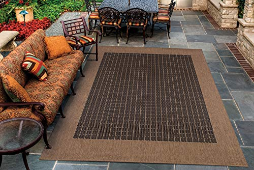 Cocoa Black Area Rug - Couristan 1005/2000 Recife Checkered Field Black/Cocoa Rug, 5-Feet 3-Inch by 7-Feet 6-Inch