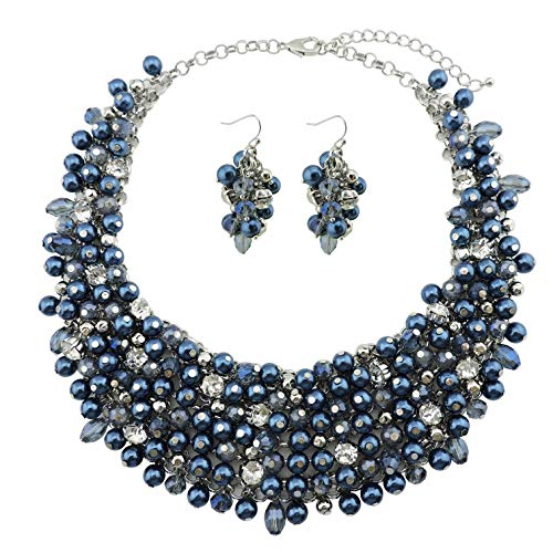 Bocar Fashion Faux Pearl Crystal Chunky Collar Statement Necklace Earring Set for Women Gift (NK-10260-moran)