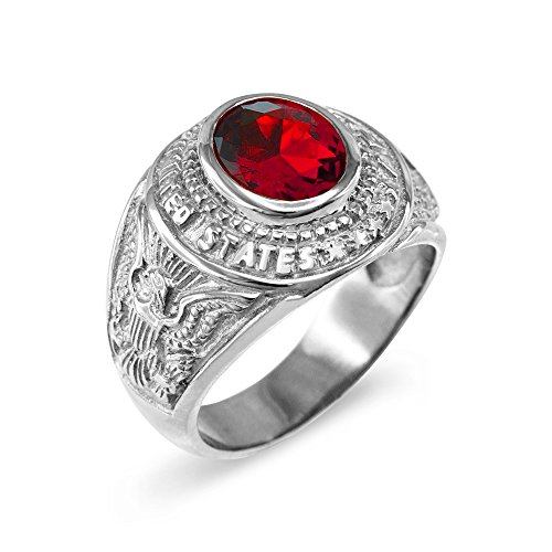 American Heroes July CZ Birthstone US Army Men's Ring in Solid 925 Sterling Silver (Size 9)