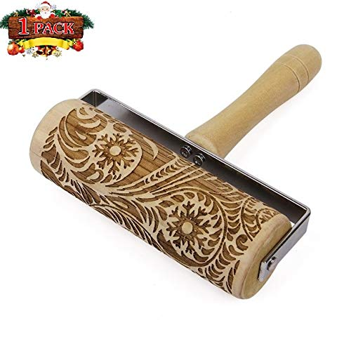 Ginkago Hand-held Embossed Christmas Wooden Rolling Pin, Engraved Embossing Rolling Pin for Baking Embossed Cookies,Reindeer Snowflake Rolling Pin Kitchen Tool (Big Snowflake) by Ginkago