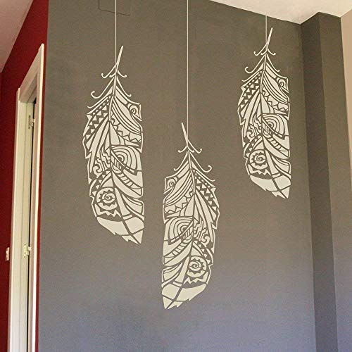 Feather Large Wall Stencil For Painting Sizes L M S Reusable Tribal Feathers Stencils For Walls