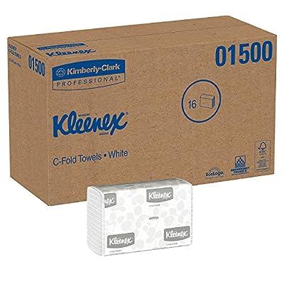 Kleenex C Fold Paper Towels (01500), Absorbent, White, 16 Packs / Case, 150 C-Fold Towels / Pack, 2,400 Towels / Case