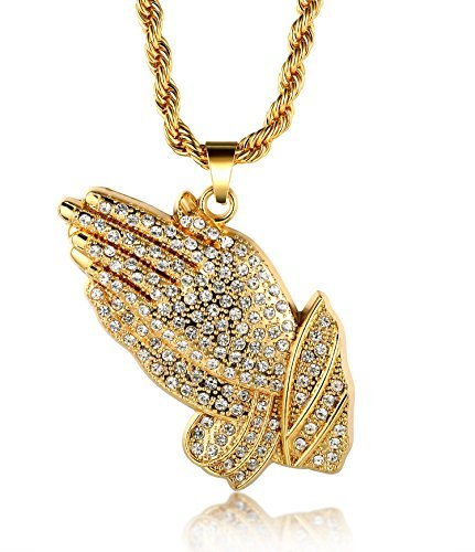 "Halukakah ""PRAYER"" Real Gold Plated Hand Pendant Necklace,Dense Cz Inlay,with FREE Rope Chain 30"" Thick 5mm(Large)"