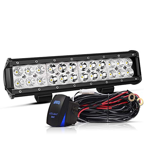 TURBOSII Led Light Bar 12Inch 72W Offroad Work Light Bar 7200LM Waterproof IP67 Spot Flood Combo Bumper Grill Lamps Led Driving Fog Lights w/Wiring Harness For Jeep Truck ATV UTV 12-24V,1 Yr Warranty ()