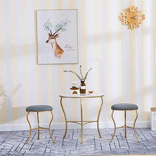 KFDQ Neuheit Haushalt Hocker, Verkleidung Hocker Nordic Metall Makeup Sitz Baumwolle Leinen Ändern Schuhe Bank Moderne Esszimmerstühle Sitzhöhe 45 cm Max.150Kg - Grau