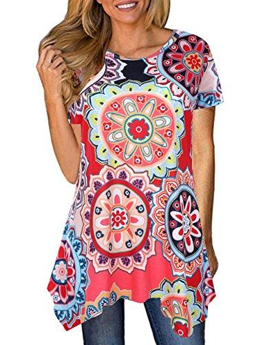 Defal Women Summer Floral Print Loose T-Shirt Casual Irregular Hem Flowy Tunic Tops (Navy Blue,XL)]()