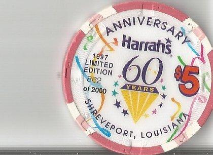 ($5 harrahs casino shreveport lousiana casino chip obsolete 60)