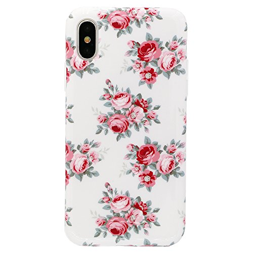 iPhone X Case, Lartin Jellybean Gel Case for iPhone X (Pink Rose Flowers) - Jelly Bean Case