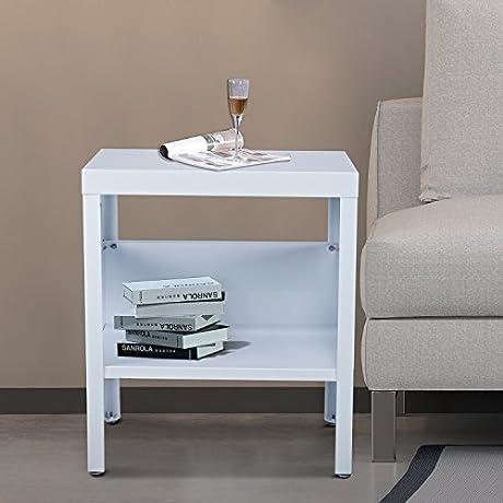 HomCom Mid Century Modern Industrial Metal Nightstand End Table White