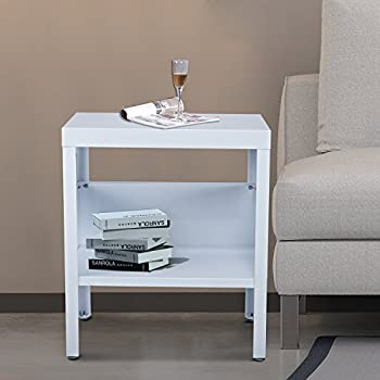 homcom mid century modern industrial metal nightstand end table white