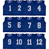 Set of 12- Scrimmage Vest / Pinnies / Team Practice Jerseys with FREE Carry Bag. Sizes for Children, Youth, Adult and Adult XXL by Athllete (Navy Blue Numbered, XX-Large)