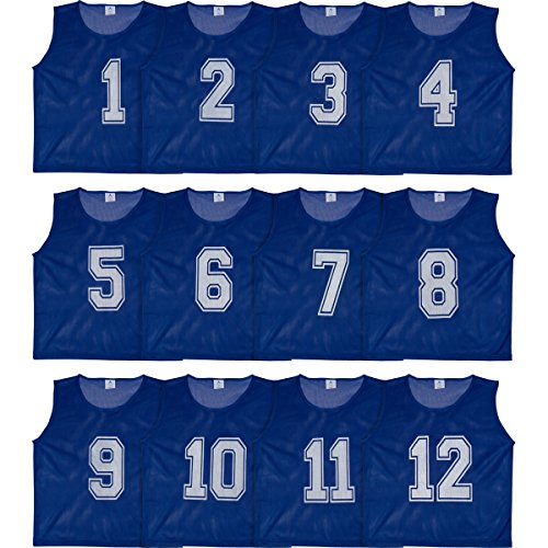 Set of 12- Scrimmage Vest / Pinnies / Team Practice Jerseys with FREE Carry Bag. Sizes for Children, Youth, Adult and Adult XXL by Athllete (Navy Blue Numbered, Large)