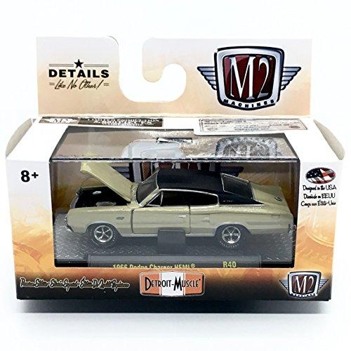 - M2 Machines 1966 Dodge Charger HEMI (Sandstone Metallic w/Black Vinyl Top) - Detroit Muscle Release 40 2018 Castline Premium Edition 1:64 Scale Die-Cast Vehicle & Display Case Set (R40 17-58)