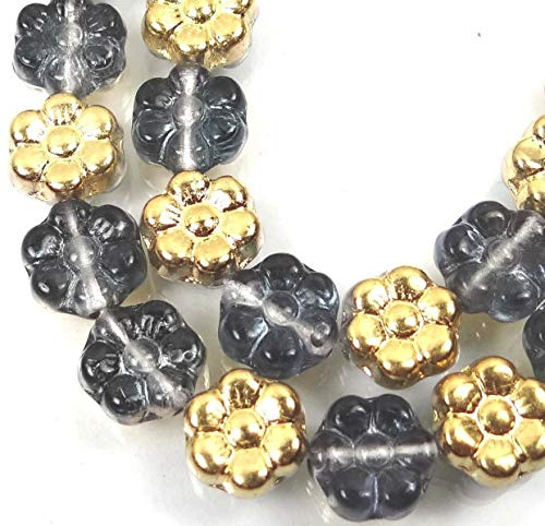 (25 Beads) 8mm Czech Glass Daisy Flower Beads - Gold/Montana Blue