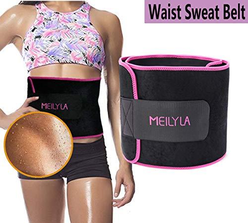 Med Rehabs Waist Sweat Belt - Stomach Fat Burner Belly Slimming, Adjustable Neoprene Workout Exercise Waist Trimmer Trainer Wrap Waistline Shaper for Women/Men (Purple, L)