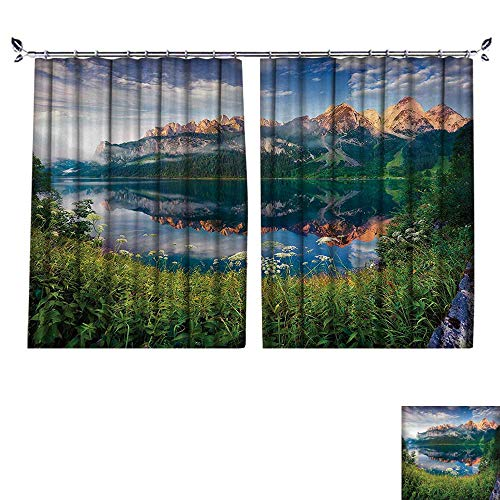 (DESPKON Active Printing Fabric Polyester Material Sunny Summer Morning The Lake Austrian Alps Crystal Mirroring Water iry Sea for Cartoon Children's Room W120 x L96)
