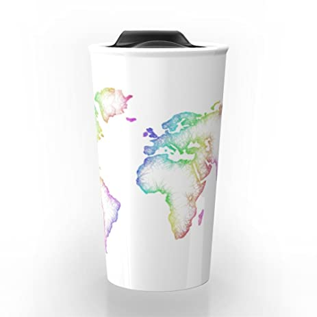Amazon society6 world map travel mug 12 oz kitchen dining society6 world map travel mug 12 oz gumiabroncs