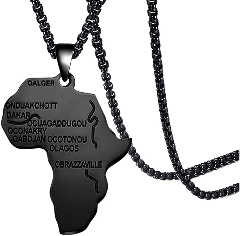 Fusamk Hip Hop Stainless Steel Africa Map Tag Pendant Letter Necklace With Chain,22inches