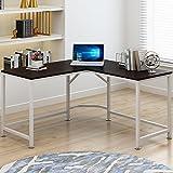 Bestyle 55'' L-Shaped Desk Corner Computer Desk PC Latop Study Table Workstation Home Office Wood & Metal (WALNUT)
