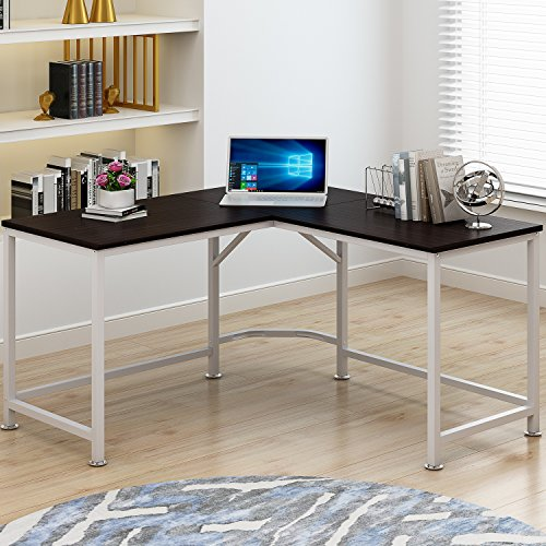 Bestyle 55'' L-Shaped Desk Corner Computer Desk PC Latop Study Table Workstation Home Office Wood & Metal (WALNUT) by Bestyle