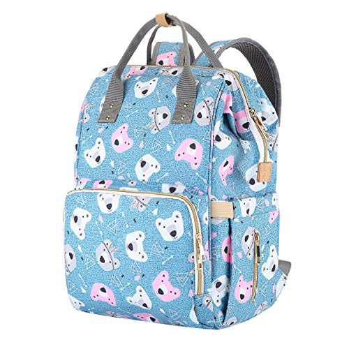 Large Baby Bag for Mom - Maternity Nappy Bag Organizer Baby Diaper Bag Backpack for Girl & Boy Durable,Travel,Stylish,Multifunctional (Polar Bear)