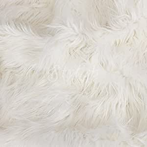 extra long white luxury shaggy faux fur fabric by the yard 1 yard home kitchen. Black Bedroom Furniture Sets. Home Design Ideas