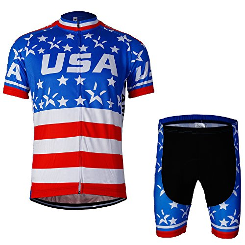 Yianerm Men Cycling Clothes Short Sleeve Bike Clothes (X-Large, Short Set Star)