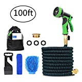 Meerveil Expandable Garden Water Hose Pipe with 10 Pattern Spray Nozzle, 3/4' Solid Brass Connector, 100FT Hose Pipe, Triple-layer Latex Inner Tube Hose