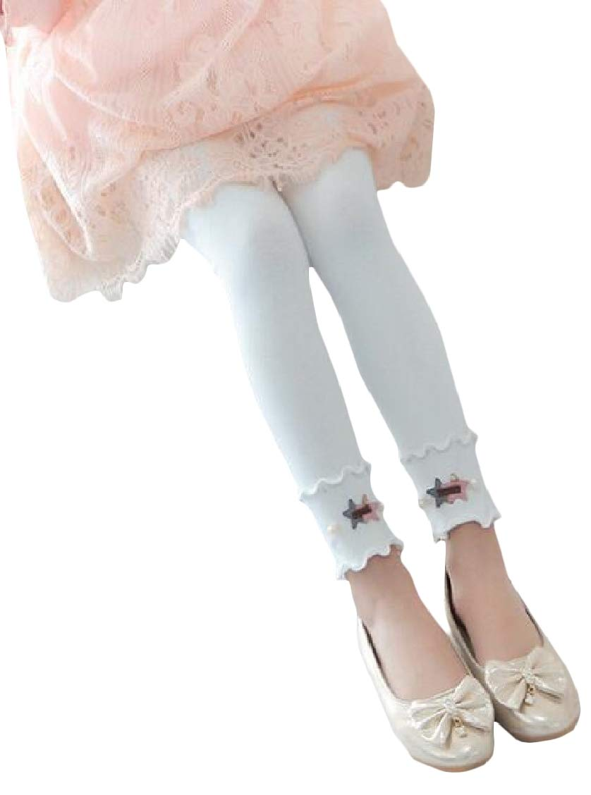 pipigo Girls' Fashion Kids Pants Cotton Sweet Cute Legging White 4T