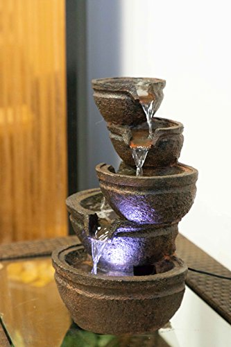 Alpine Tiering Bowls Fountain w/White LED Light, 13 Inch Tall ()