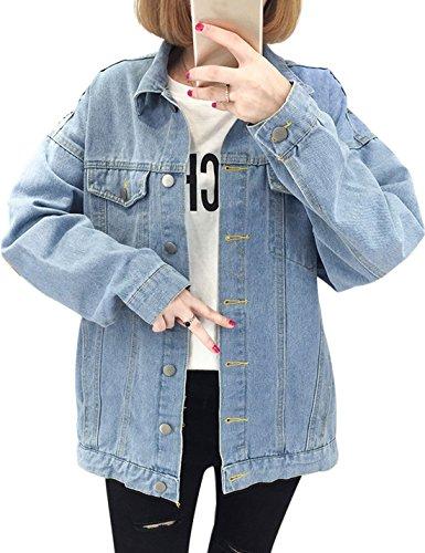 Yeokou Women's Casual Loose Baggy Boyfriend Windbreaker Denim Trucker Jacket (X-Small, Light Blue) by Yeokou