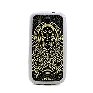 JMM - Buddha Asura Style Design White Bumper Hybrid Plastic + TPU/Silicone Rubber Cell Mobile Phone Cases Skin Cover/Accessories for Samsung Galaxy S 3 S3 SIII I9300 Andorid (Verizon, AT&T Sprint, T-mobile, Unlocked)