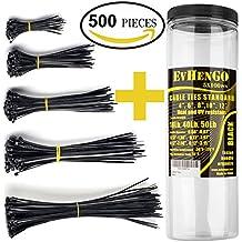 Cable Ties - Black Zip Ties Heavy Duty - Plastic Zip Ties Bulk - Outdoor Nylon Cable Ties Heavy Duty - Zip Ties from 4 6 8 10 12 Inches - Self-Locking Nylon Zip Ties Set - Zip Ties Combo Pack 500