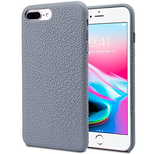 Metallic Calfskin Leather (iPhone 7 Plus Genuine Leather Case, iPhone 7 Plus Case YUNCE Slim Fit Shockproof Protective Case Soft Genuine leather Flexible Back Cover Silicone Hybrid with Metallic Buttons (iPhone 7 Plus Grey))