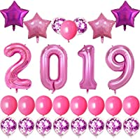 Welliboom 2019 New Year Party Decorations w/ Confetti & Balloons (Pink)